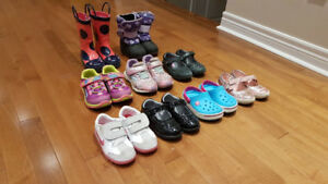 Toddler Girls Winter Boots, Rain boots and Runners- 9 Pairs EUC!