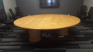 9 ft round solid wood boardroom table