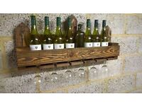 Rustic Wooden Wine & Glass Rack / Holder