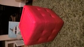 Little red faux leather sidestool for sale