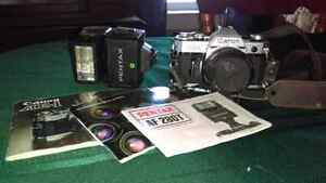 Canon AE1 camera with Pentax flash