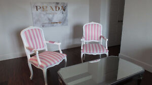 SOLD! Two custom made pink and white striped chairs Kitchener / Waterloo Kitchener Area image 1