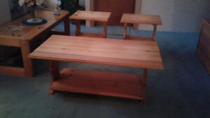 Hand made pine coffee and end tables