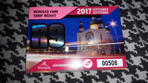 Reduced Student pass for September. 2017. (Monthly) Obo
