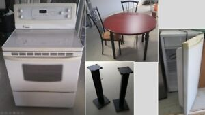 STOVE, MICROWAVE, TABLE, PATIO HEATER, BED FRAME, DRESSER