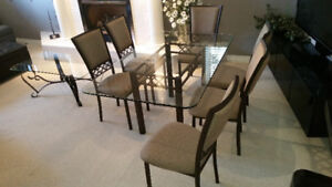 Glass Dining Table, 6 Chairs, Coffee Table - Brown Metal Frames