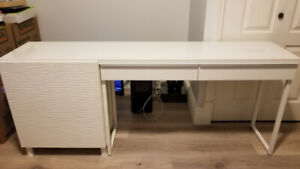 Desk 2 drawers with side shelf unit with top glass layer