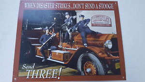 The Three Stooges Fire Truck Tim Metal sign picture