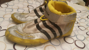 2 pair Adidas wrestling shoes, sz 9.5 and 10.5