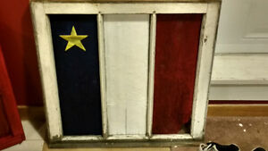 Driftwood Acadian Flag in Wooden Window Frame