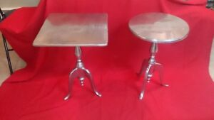 2 silver metal accent tables $35.00 each or both for $60.00