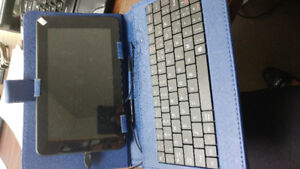 Tablet with case and keyboard