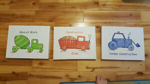 3 canvases- vehicles- for kids