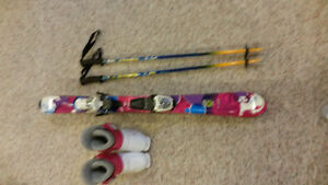 Girls Downhill Ski Package,  Skis, Bindings, Boots and Poles