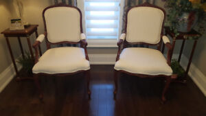 Two Elegant Classic Bergere Side Chairs