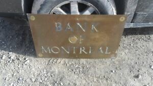 VINTAGE BANK OF MONTREAL BRASS SIGN