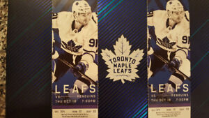 Maple Leafs VS Pittsburgh Thurs Oct 18th