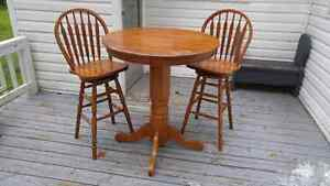 Oak Bar Table with 2 Swivel Chairs