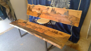 Live-edge Yew bench w/ matching wall art.