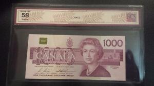 CANADIAN 1000 DOLLAR BANK NOTE- 1988 BONIN-THEISSEN