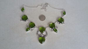 """FACETED GREEN PERIDOT 925 STERLING SILVER NECKLACE 16-18"""""""