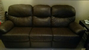 Brown Reclining Leather Sofa