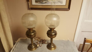Pair of Electric Electrified Oil Lamps Brass with Nice Globes
