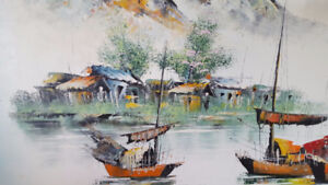 Boats Arriving At Shore (Oil painting by PW Cheng) Painting, Art