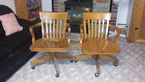 wood office vintage chairs