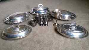 Silver Serving dishes, salt and pepper shakers and cups