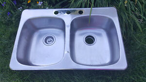 Lavabo double en inox/ stainless steel sink double