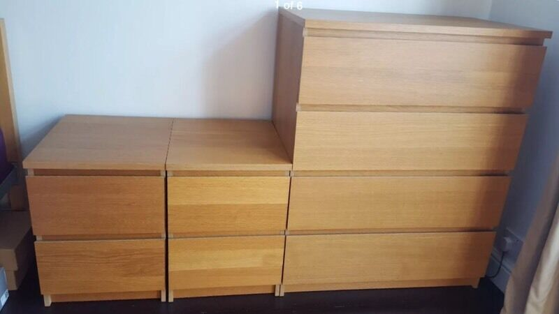 ikea malm oak bedroom set chest of 4 drawers and 2 x bedside table set