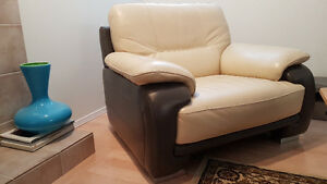 Leather Sofa c/w Two (2) Matching Chairs