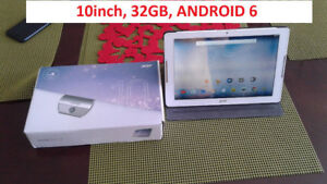 """10"""" TABLETTE 32GB Android 6 + Protective CASE & BOX Acer Iconia"""