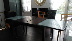 Solid Wood Dining Table with glass
