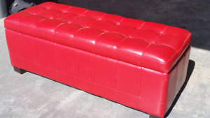 Red faux leather storage bench