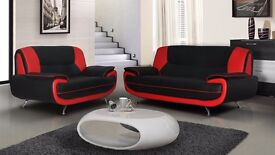 **FREE DELIVERY** BRAND NEW 3 AND 2 SEATER CAROL LEATHER SOFA SUITE CORNER SETTEE BLACK, RED, BROWN