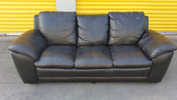 real black leather 3 seater couch delivery included