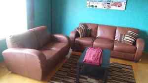 Medium Brown Leather Couch & Loveseat Set