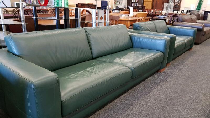 Dark Green Leather Sofa Set In Blyth Northumberland Gumtree