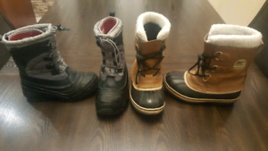 Boys winter boots Northface size 3 and Sorel size 2