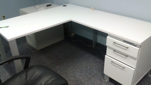 Office desk with overhead cabinet