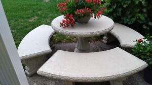 Concrete Circular Table and Matching Benches