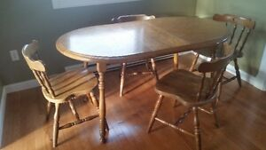 Solid Wood Dining Table Set with 4 Chairs