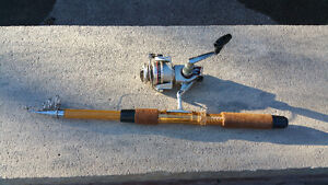 Vintage telescoping fishing rod and Olympic reel
