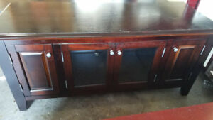 AS IS TV STAND CHERRY COLOR  WOOD CABINET