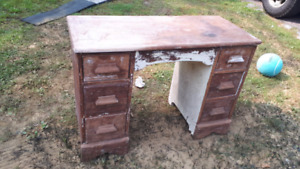 Desk partially stripped
