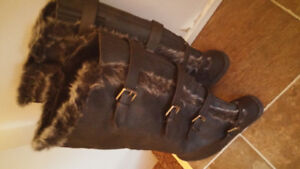 Cozy warm real leather boots