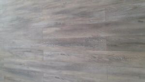Grey laminated wood flooring