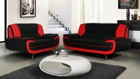 DESIGNER FURNITURE - AVAILABLE IN 4 DIFFERENT COLORS CAROL 3+2 LEATHER SOFA-BLACK RED WHITE & BROWN
